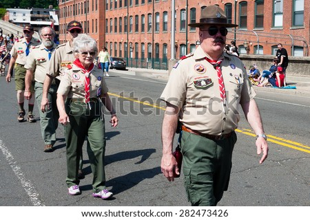 "Shelton, CT, USA - May 25, 2015: The individuals are some of the many participants at the ""Memorial Day Parade"" held in Shelton, Connecticut, on May 25, 2015  - stock photo"