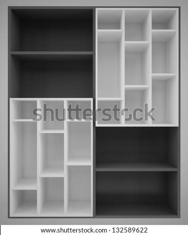 Shelves asymmetric two-color - stock photo