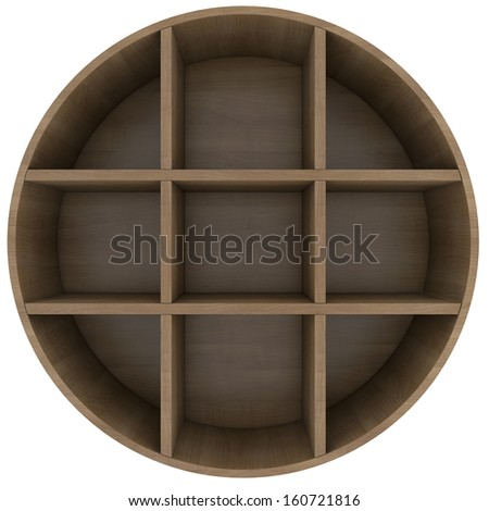 Shelves in the shape of a circle. 3d rendering on white background - stock photo