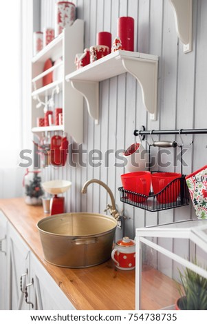 Shelves Dishes Interior Light Grey Kitchen Stock Photo Image - Grey kitchen shelves