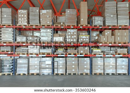 Shelving System With Boxes in Distribution Warehouse - stock photo