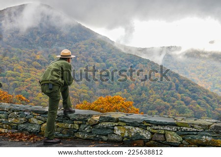 Shenandoah National Park in Autumn foliage, Virginia USA - stock photo