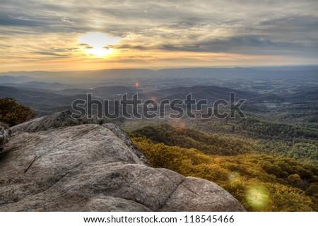 Shenandoah National Park Sunset - stock photo