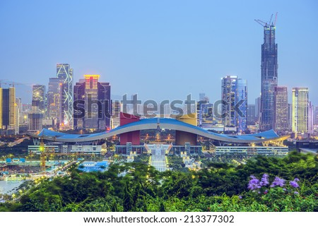 Shenzhen, China city skyline at twilight in the Civic Center district.  - stock photo