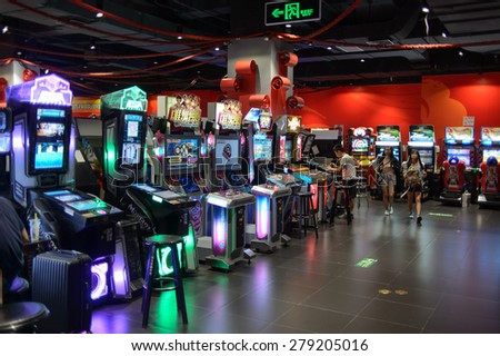SHENZHEN, CHINA - MAY 17, 2015: game club interior. Shenzhen is a major city in the south of Southern China's Guangdong Province, situated immediately north of Hong Kong