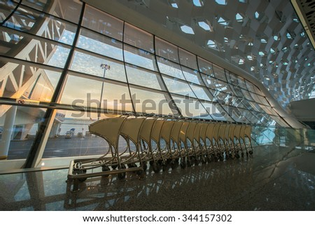 Shenzhen, China, October 25, 2015: Shenzhen Bao'an International Airport in Bao'an District, Shenzhen, Guangdong, China.