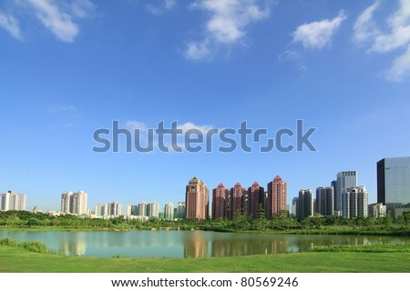 Shenzhen, China, parks and skyscrapers panorama - stock photo
