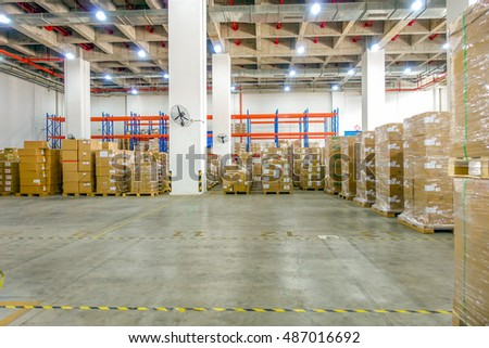 Shenzhen, China - September, 2016:Interior of logistics warehouse. A warehouse is a commercial building for storage of goods.