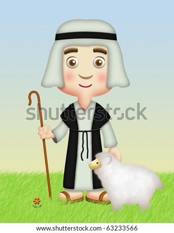 Shepherd and Sheep Clip Art