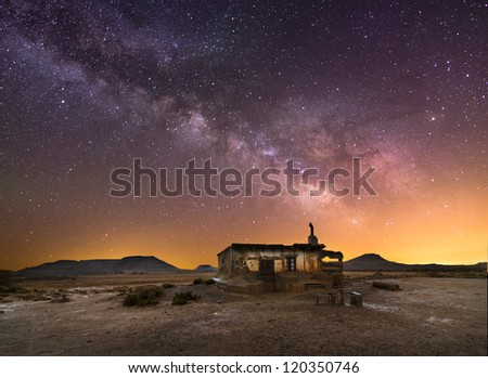 Shepherd hut at desert night near Pamplona, Spain - stock photo