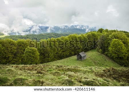 Shepherd's house in a spring landscape in the mountain. Foggy morning in the Carpathian mountains. - stock photo