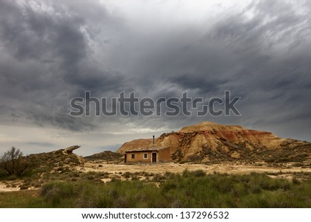 shepherd's house in the Bardenas, Navarra, Spain  - stock photo