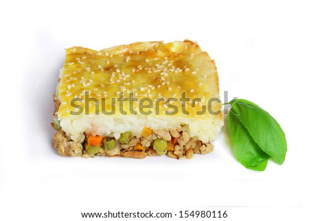 Shepherd's pie isolated on white - stock photo