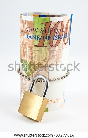 Sheqel with padlock isolated on white background - stock photo