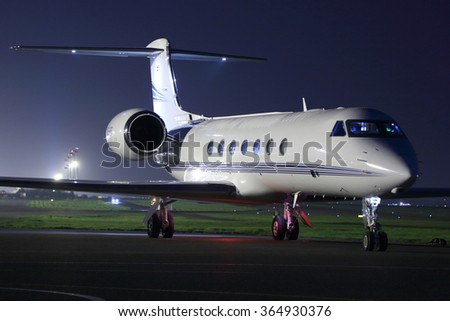 SHEREMETYEVO, MOSCOW REGION, RUSSIA - MARCH 27, 2014: Private Gulfstream G550 at Sheremetyevo international airport.