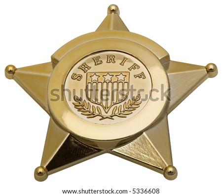 Sheriff Badge - isolated on white - stock photo