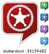 sheriff rope badge icon bubble - stock photo