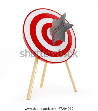 sheriff's badge target red on a white background - stock photo