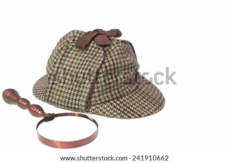 Sherlock Holmes Hat or  Deerstalker Hat and Retro Magnifying Glass Isolated on White - stock photo