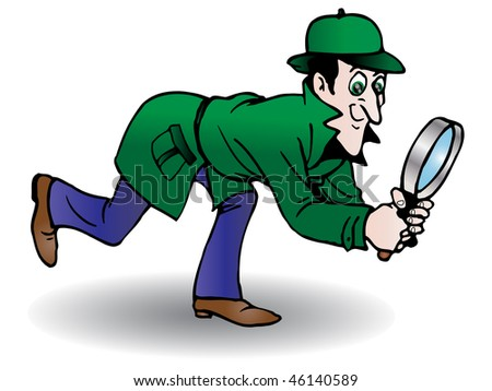 Sherlock Holmes style Victorian Detective search something - stock photo