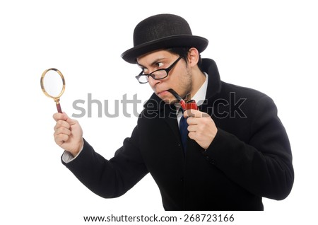Sherlock Holmes with magnifying glass isolated on white - stock photo