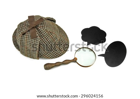 Sherlock Homes Deerstalker Cap, Retro Magnifying Glass And Black Cardboard Speech Bubbles Isolated On White Background. Crime Investigation Concept - stock photo