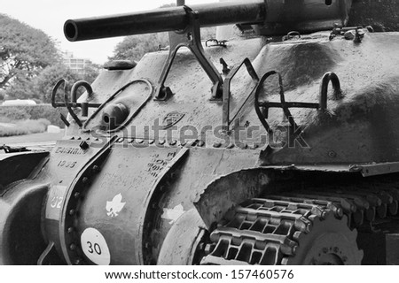 Sherman Grizzly tank from allied forces use in second world war - stock photo
