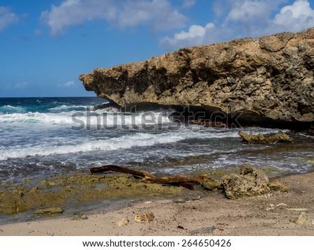 Shete Boka National park - Views  on the Caribbean Island of Curacao Dutch Antilles - stock photo