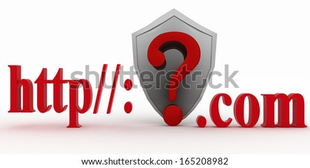 Shield and Guestion mark between http and dot com. Conception of protecting from unknown web- pages. 3d illustration on white background. - stock photo