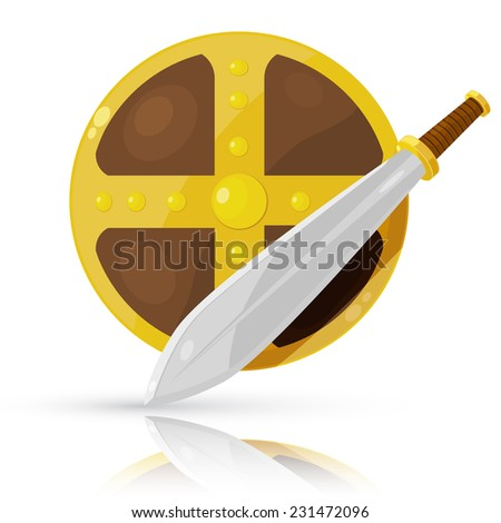 Shield and sword isolated on white background. Raster copy. - stock photo