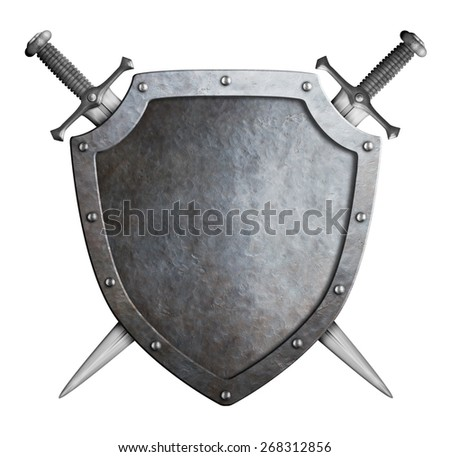 shield and swords isolated coat of arms - stock photo