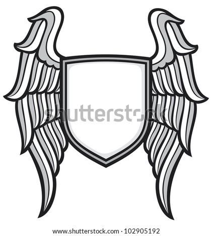 shield and wings - stock photo
