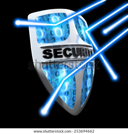 Shield antivirus, abstract (done in 3d) - stock photo