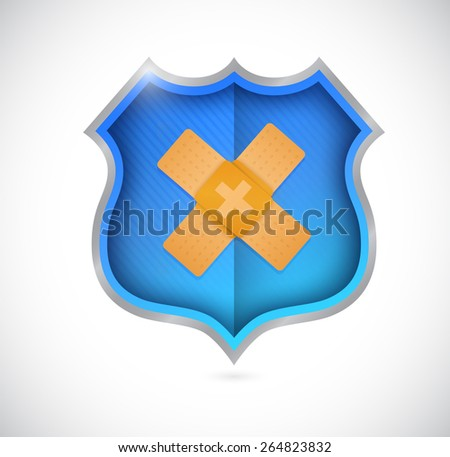 shield bandage fix solution concept illustration design over white background - stock photo