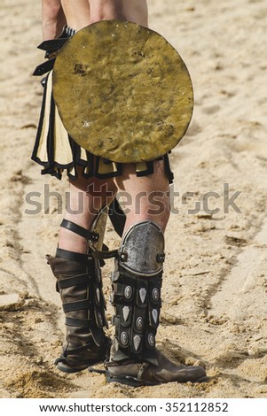 Shield, gladiator fighting in the arena of Roman circus - stock photo