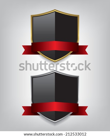 Shield gold and silver with red ribbon illustration - stock photo