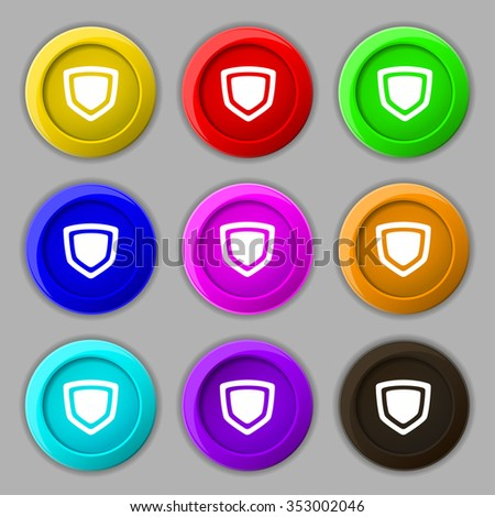 shield icon sign. symbol on nine round colourful buttons. illustration