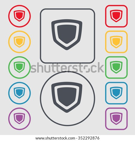 shield icon sign. symbol on the Round and square buttons with frame. illustration