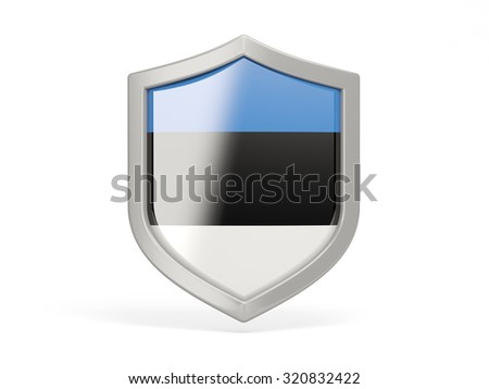 Shield icon with flag of estonia isolated on white - stock photo