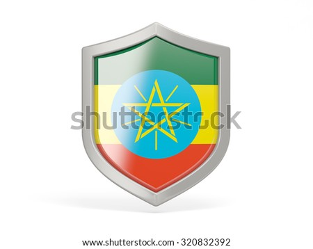 Shield icon with flag of ethiopia isolated on white