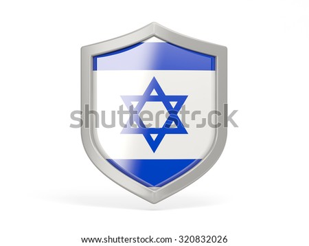 Shield icon with flag of israel isolated on white - stock photo