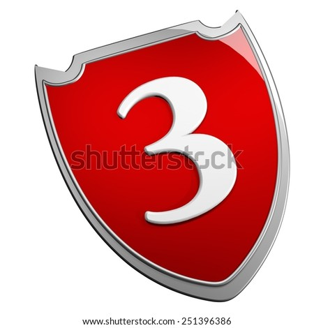 Shield 3, isolated over white, 3d render - stock photo