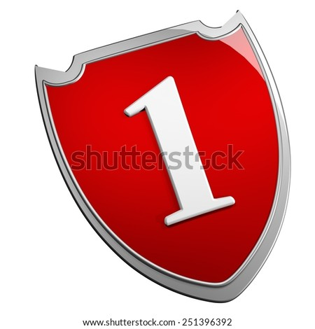Shield 1, isolated over white, 3d render - stock photo