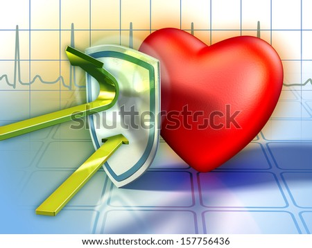 Shield protecting the heart from harmful substances. Digital illustration. - stock photo