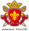 Shield, Ribbons, Crown ,Heraldry fleur-de-lys and Sword - stock photo