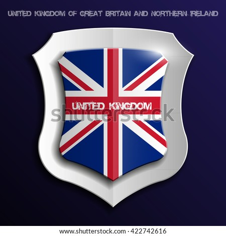 shield with flag of United Kingdom of Great Britain and Northern Ireland - stock photo