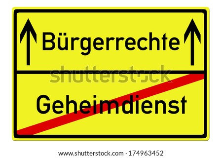 Shield with the german words Civil rights and secret service / secret service - stock photo