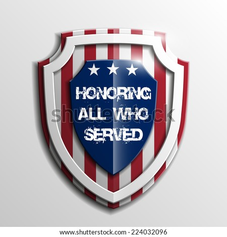 Shield with USA Independence Day icon. Protect privacy Illustration, badge icon. Banner presentation the fourth of July. American holiday Veterans Day