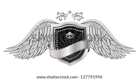 shield with wings - stock photo