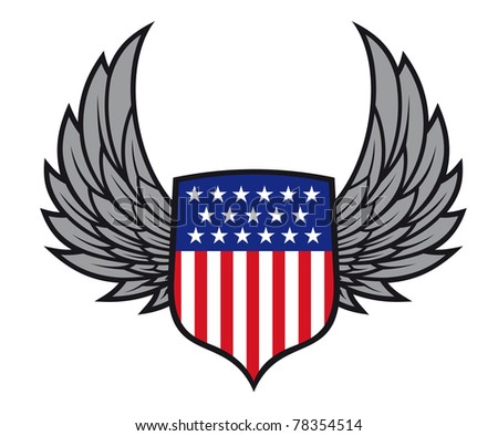 Shield with wings as a USA heraldic symbol for design. Vector version also available in gallery - stock photo